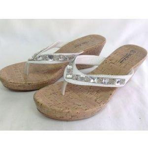 White Line Slip On Faux Cork Wedges Jeweled